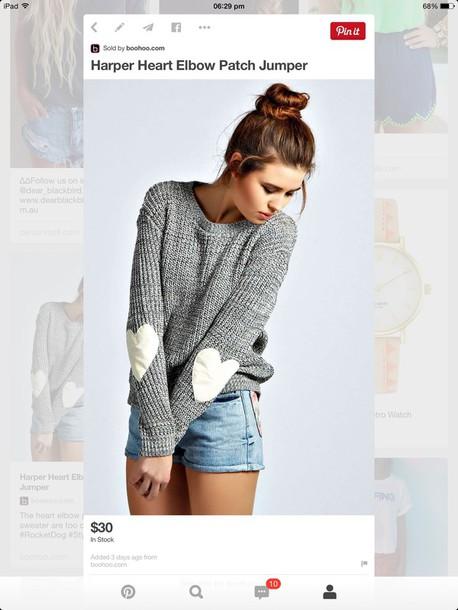 sweater heart elbow patch jumper shirt