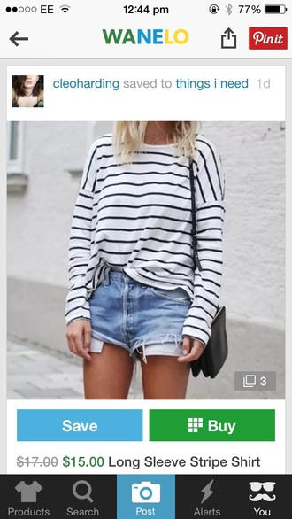 top black and white striped top long sleeves wanelo streetstyle fashion
