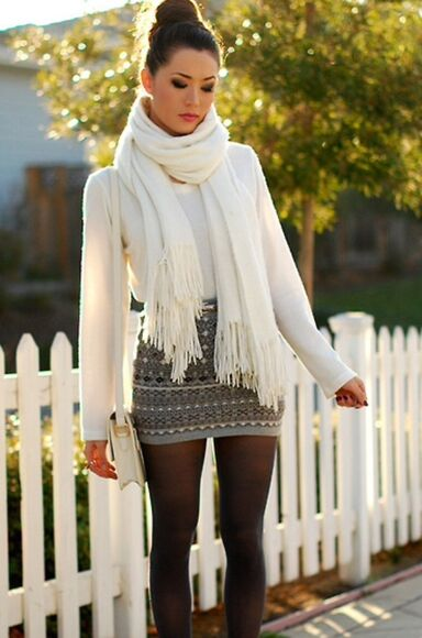 leggings tights white fall outfits winter sweater winter outfits mini skirt outfit scarf