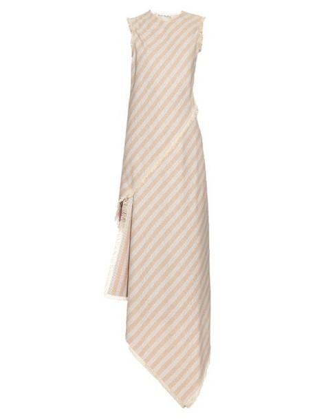 ACNE STUDIOS Cosby striped asymmetric-hem dress in beige / beige