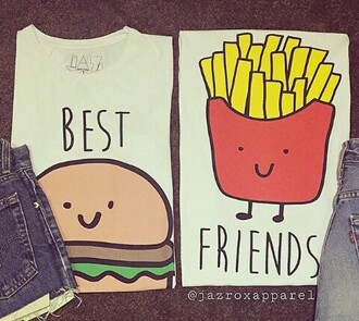 shirt clothes t-shirt best friends top chips hamburger cute kawaii drawing summer outfits spring outfits blouse top girls shirt bbf white t-shirt best friends t-shirts sweater best friends sweatshirts
