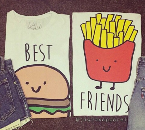 shirt clothes t-shirt best friends top chips hamburger cute kawaii drawing summer outfits spring outfits blouse top girls shirt bbf