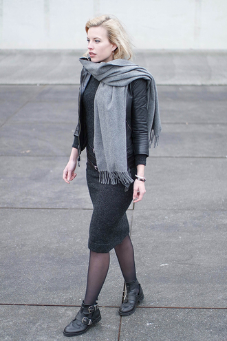 shoes leather jacket grey scarf black pencil skirt blogger tights buckle boots