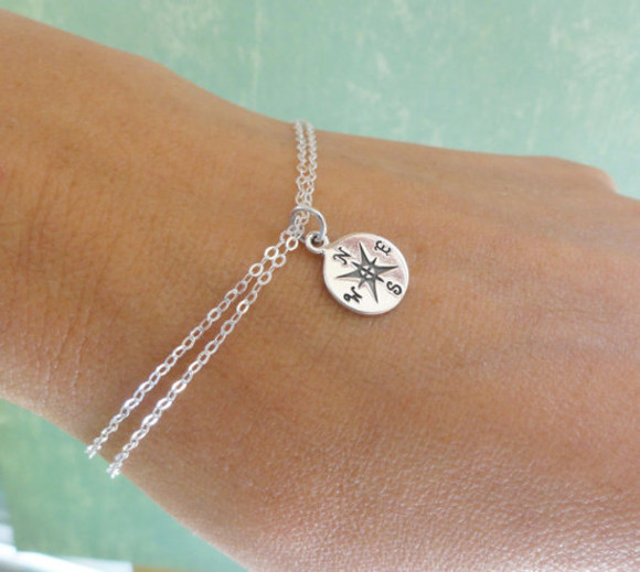 fashion simple girly cute jewels bracelets chain compus survival survivor direction
