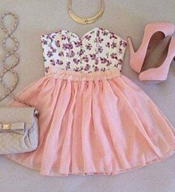 skirt dress pink flowers high heels