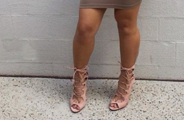 c633763e4ad3 shoes strappy heels lace up nude heels suede shoes