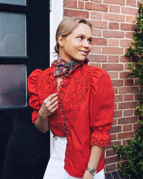 Blouse Tumblr Bandana Red Blouse Puffed Sleeves Pants White