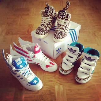 shoes adidas wings bones leopard print high top sneakers