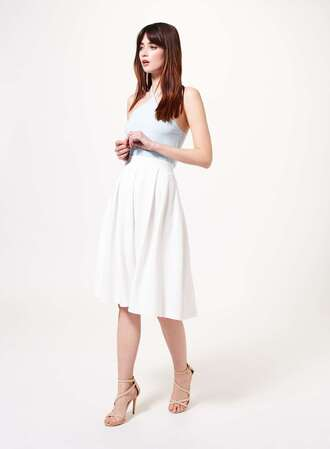 skirt midi skirt white skirt ivory dress pleated skirt white