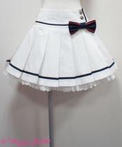 skirt,kawaii,cute,white,blue,mini skirt,bow