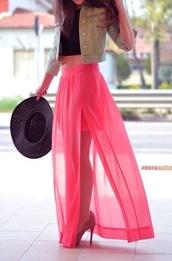 skirt,maxi skirt,dress,coral,maxi dress,summer outfits,kawaii,dope,style,pink dress,pink,pink maxi skirt,lace dress,summer dress,summer,pink sheer long skirt,sheer,layered,neon pink,high waisted skirt,slit skirt