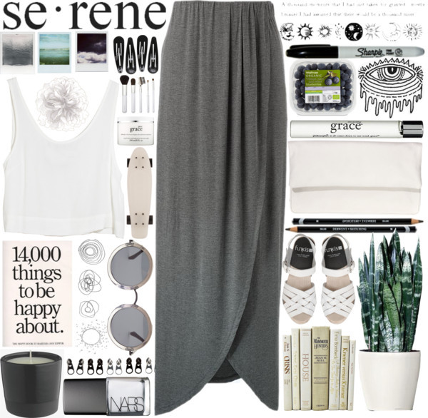 skirt maxi skirt grey t-shirt notebook