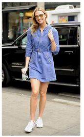 dress,denim,denim dress,karlie kloss,sneakers
