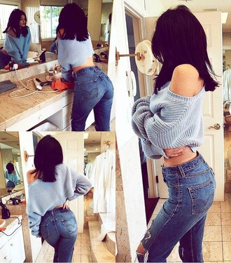 jeans kylie jenner pants ripped jeans shirt cute celebrity style crop tops cropped sweater knitwear knitted sweater style trendy chic