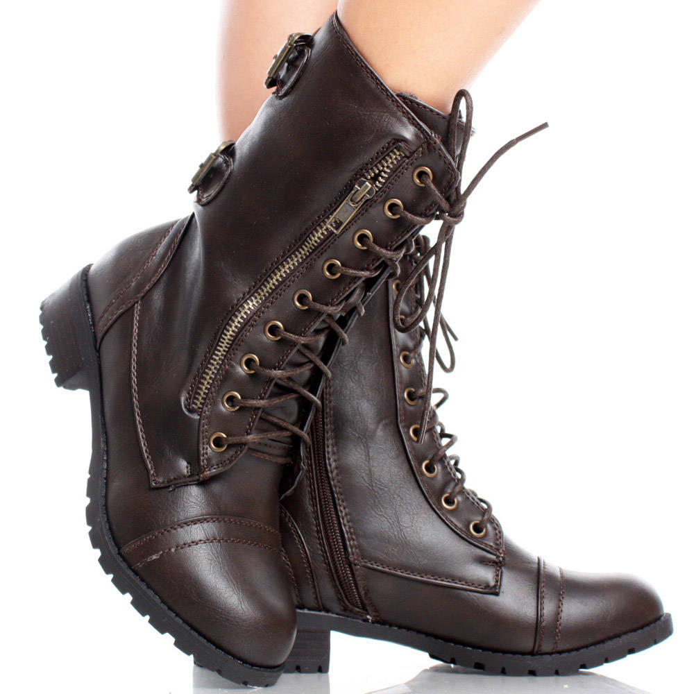 Faux Leather Lace Up Combat Army Women Platform Flat Ankle Boots ...