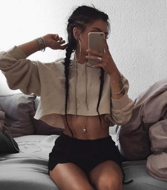 sweater girl girly girly wishlist tumblr nude crop hoodie cropped sweater cropped hoodie