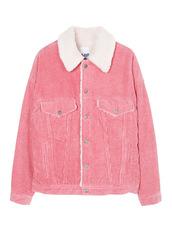 jacket,reply1988,oversized,woolsheep,denim,1988,pink,hyeri,velours,wool,denim jacket,thrift,shearling jacket