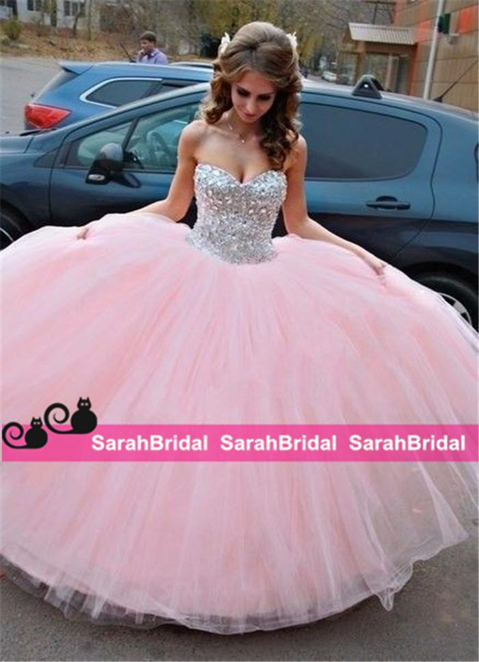Pretty Beaded Big Ball Prom Quinceanera Dresses For 2016 Sweet 16 ...
