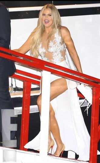 dress white slit skirt lace bodysuit