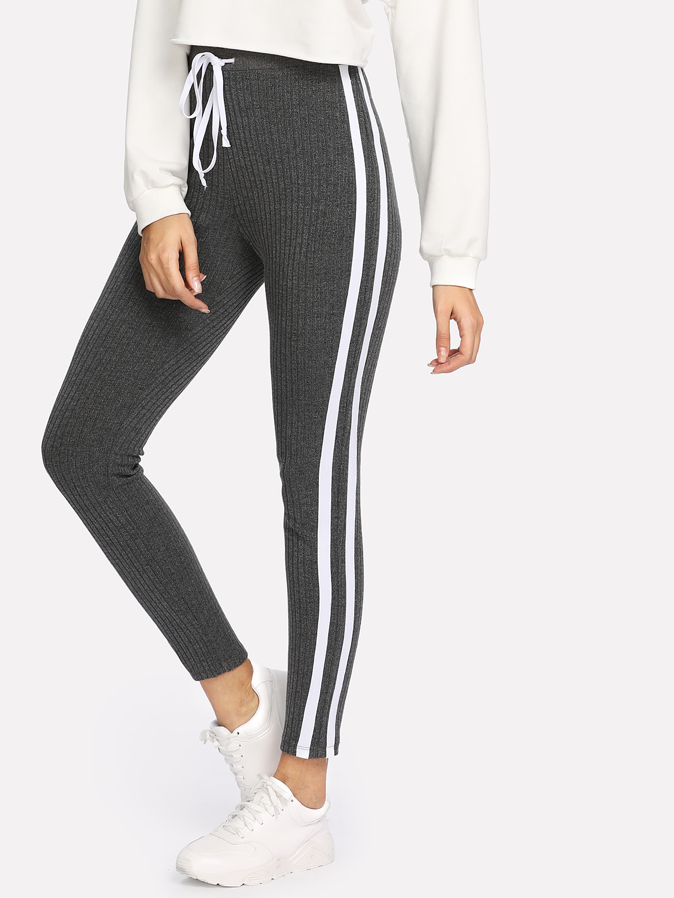 Striped Sideseam Ribbed Knit Sweatpants -SheIn(Sheinside)