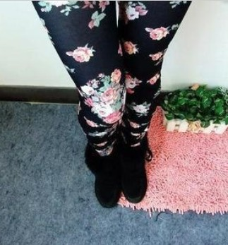 Fashion Rose Flowers Printed Leggings Women's High Elastic Legging Casual Pencil Pants LG 183-in Leggings from Apparel & Accessories on Aliexpress.com | Alibaba Group