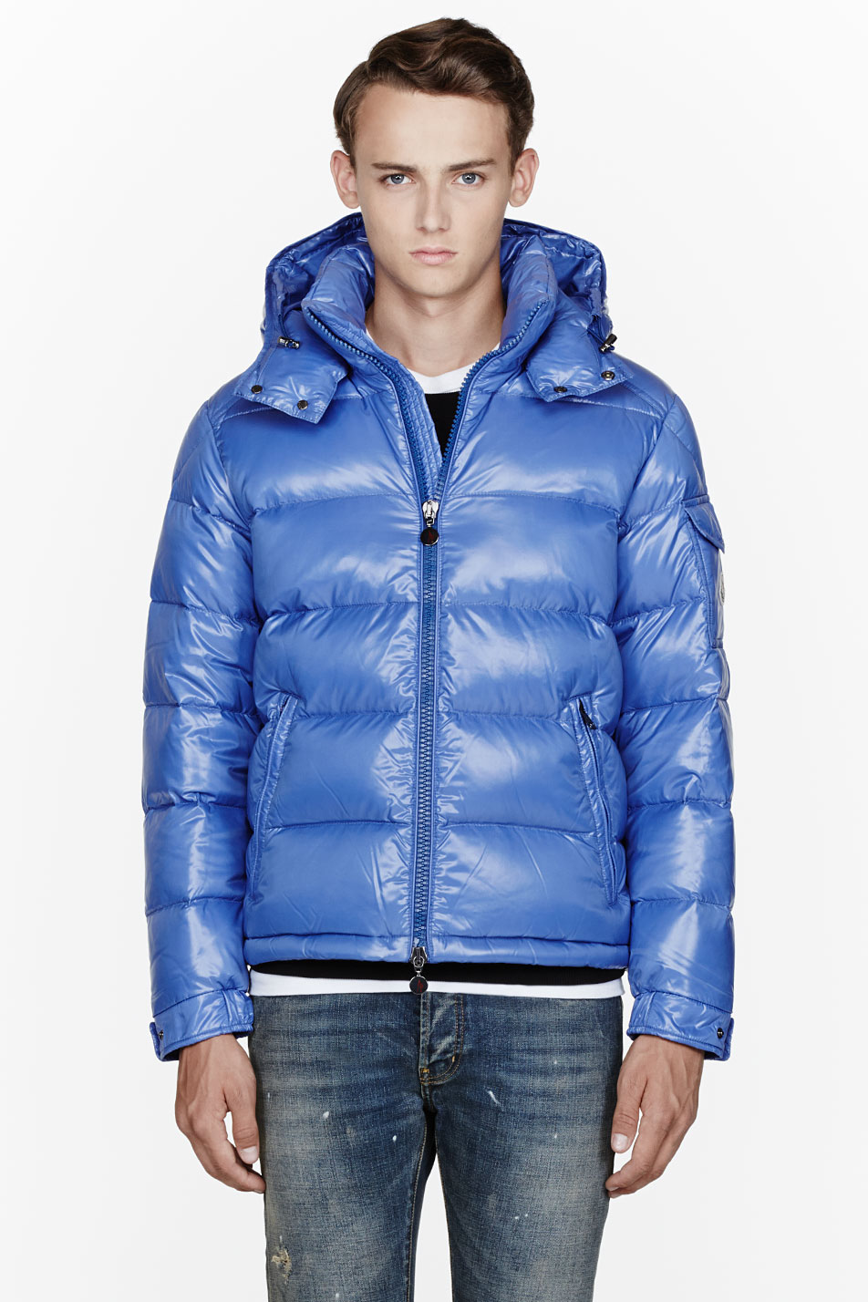 moncler blue quilted down maya jacket. Black Bedroom Furniture Sets. Home Design Ideas