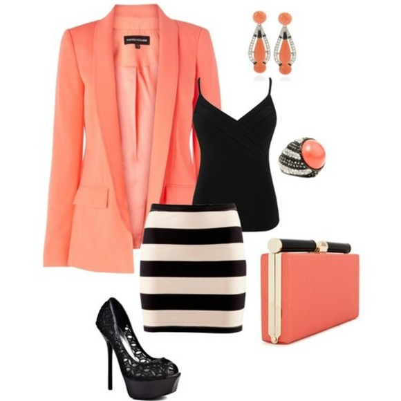 orange jacket jacket black & white stripped skirt orange clutch black tank