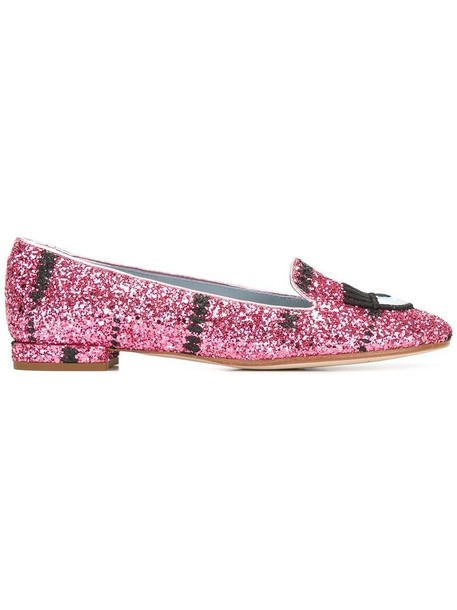 Chiara Ferragni women slippers leather purple pink shoes