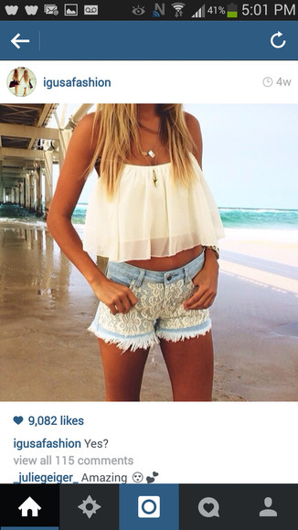 shirt blouse cute top girly white flowy sheer t-shirt white crop tops white lace shorts