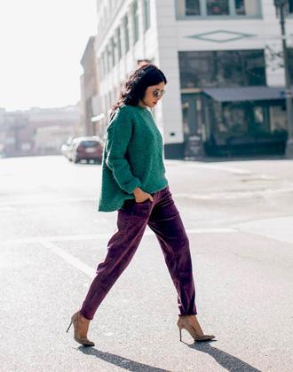sweater tumblr green sweater cozy sweater pants velvet velvet pants pumps sunglasses