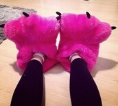 shoes,pink,slippers,monster,pink monster slippers,socks