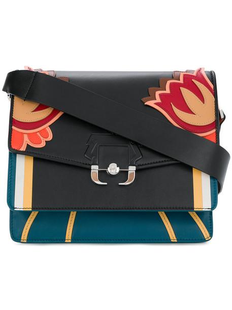 women bag shoulder bag floral leather black