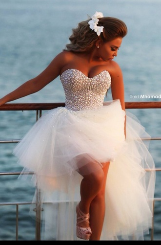 dress short long dress white dress pearls