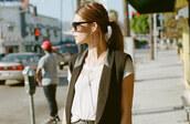 t-shirt,nastygal,tux vest,vest,black vest,white tee,white,black,sunglasses,black sunglasses,jacket