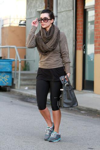 scarf kim kardashian model celebrity workout sneakers sports shoes workout leggings sports pants hermes bag sweater sunglasses