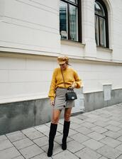 kenza,blogger,sweater,shoes,skirt,hat,jewels,bag,knee high boots,yellow sweater,fall outfits,button up skirt