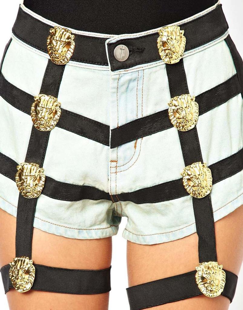 Medusa harlie harness jeans shorts – glamzelle