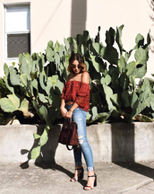 top,sunglasses,tumblr,red top,rust,off the shoulder,off the shoulder top,denim,jeans,blue jeans,skinny jeans,ripped jeans,sandals,sandal heels,high heel sandals,bag,shoes
