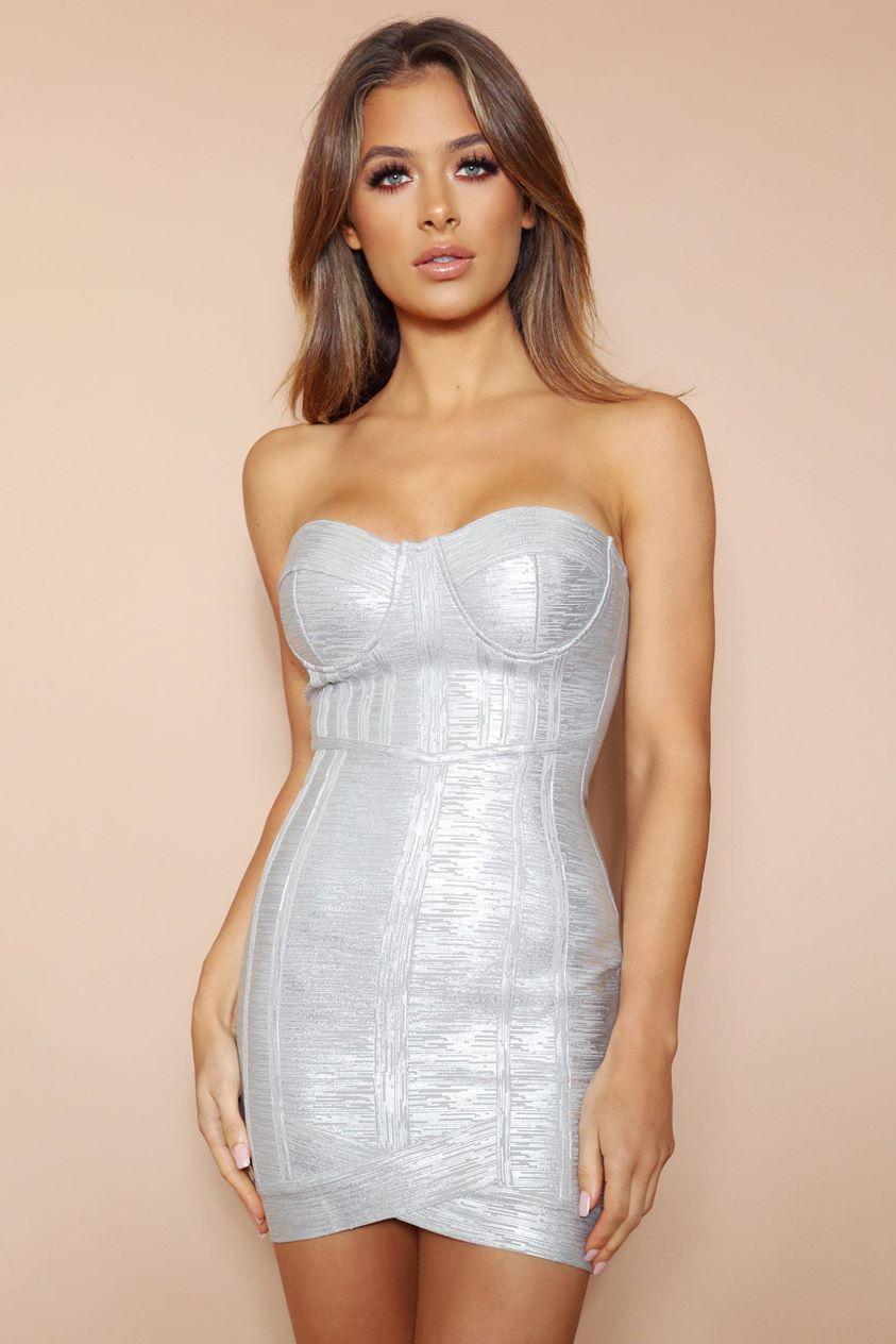 The Azalea Silver Metallic Bandage Mini Dress