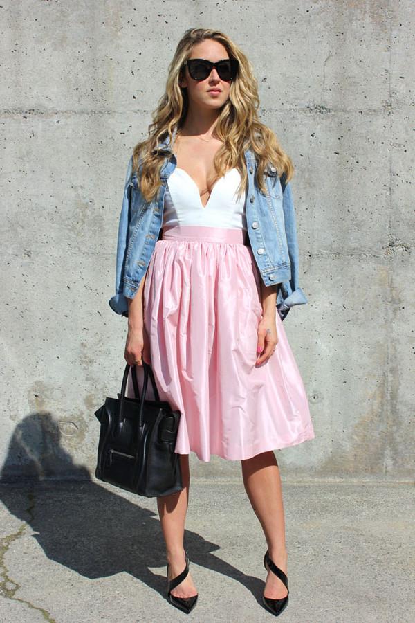 a fashion love affair t-shirt jacket skirt bag shoes