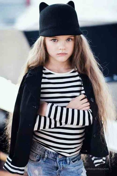 hat black and white stripped shorts black hat cat ears blazer