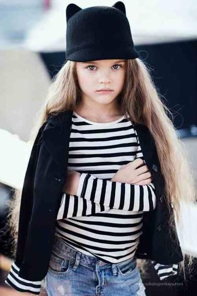 hat black and white stripped shorts black hat cat ears blazer dab18d27c94