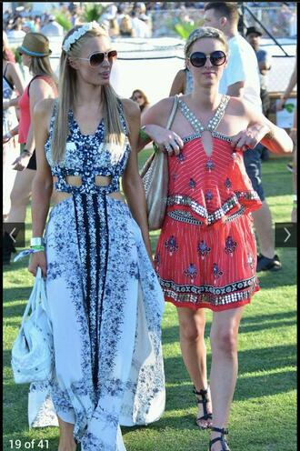 dress cute pretty blue red gold black geometric paris hilton summer spring trendy maxi dress white navy embelished sequins music festival music festival celeb celebrity style cute dress summer outfits cute outfits cut offs floral flowers stripes cochella two-piece fun dance dancers romper party short