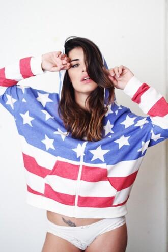 dulceida blogger hoodie american flag panties brunette sweater jewels