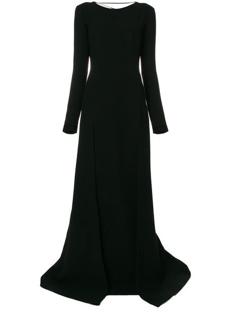 gown back women black silk wool dress