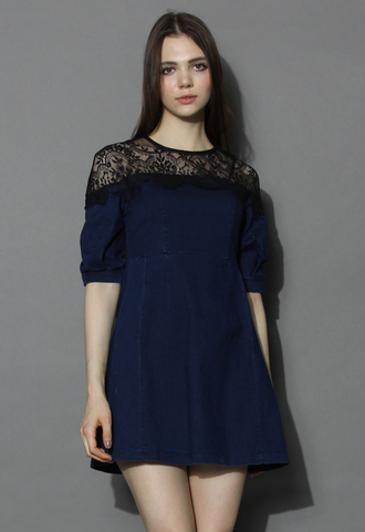 dress eyelash lace shoulder denim dress chicwish lace shoulder dress denim dress lace dress chicwish.com