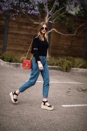 bag,blogger,blogger style,mom jeans,sandals,embroidered top,sunglasses,tumblr bag,crossbody bag,minibag,wedges,platform sandals