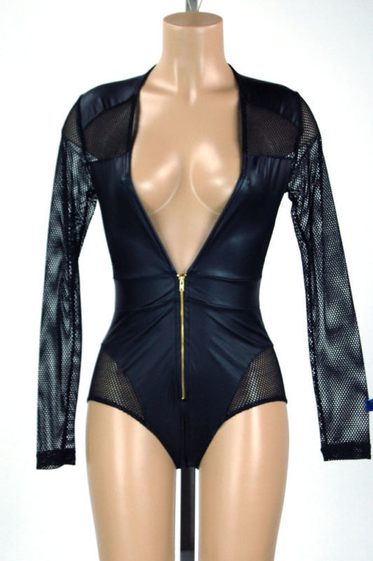 Yonce plunging faux leather netted bodysuit