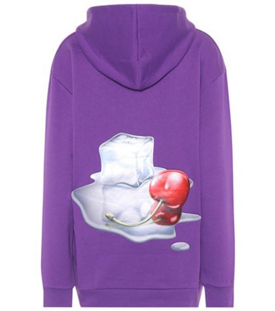 Acne Studios hoodie cotton purple sweater