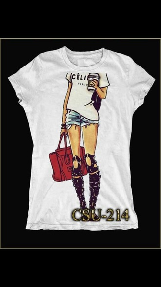 t-shirt celine celin paris tshirt shirt tshirt vogue